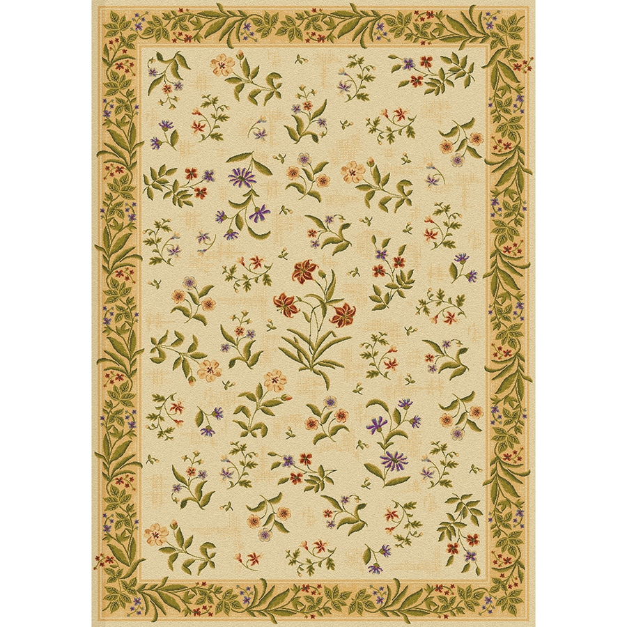 Mohawk Home Summer Flowers Beige Beige Rectangular Indoor Tufted Area Rug (Common: 4 x 6; Actual: 3.8333-ft W x 5.4166-ft L x 0.5-ft Dia)