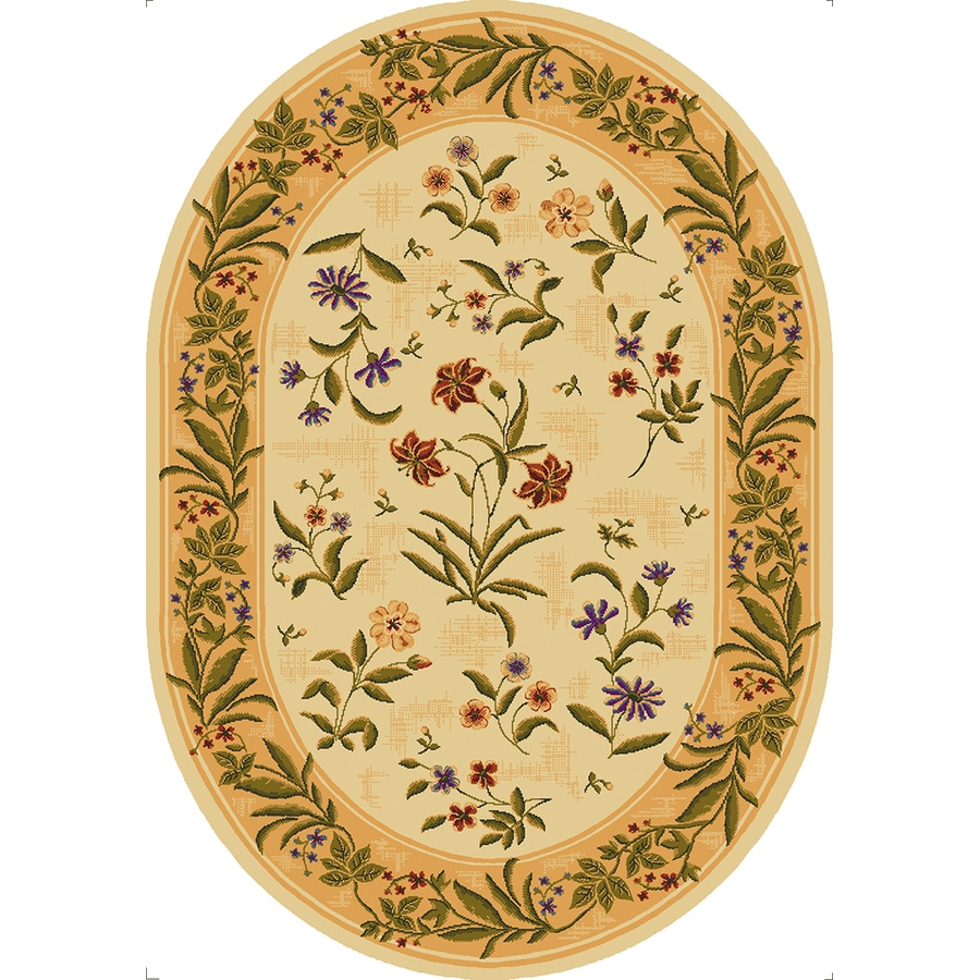 Mohawk Home Summer Flowers Beige Beige Oval Indoor Tufted Area Rug (Common: 5 x 7; Actual: 5.4166-ft W x 7.6666-ft L x 0.5-ft Dia)