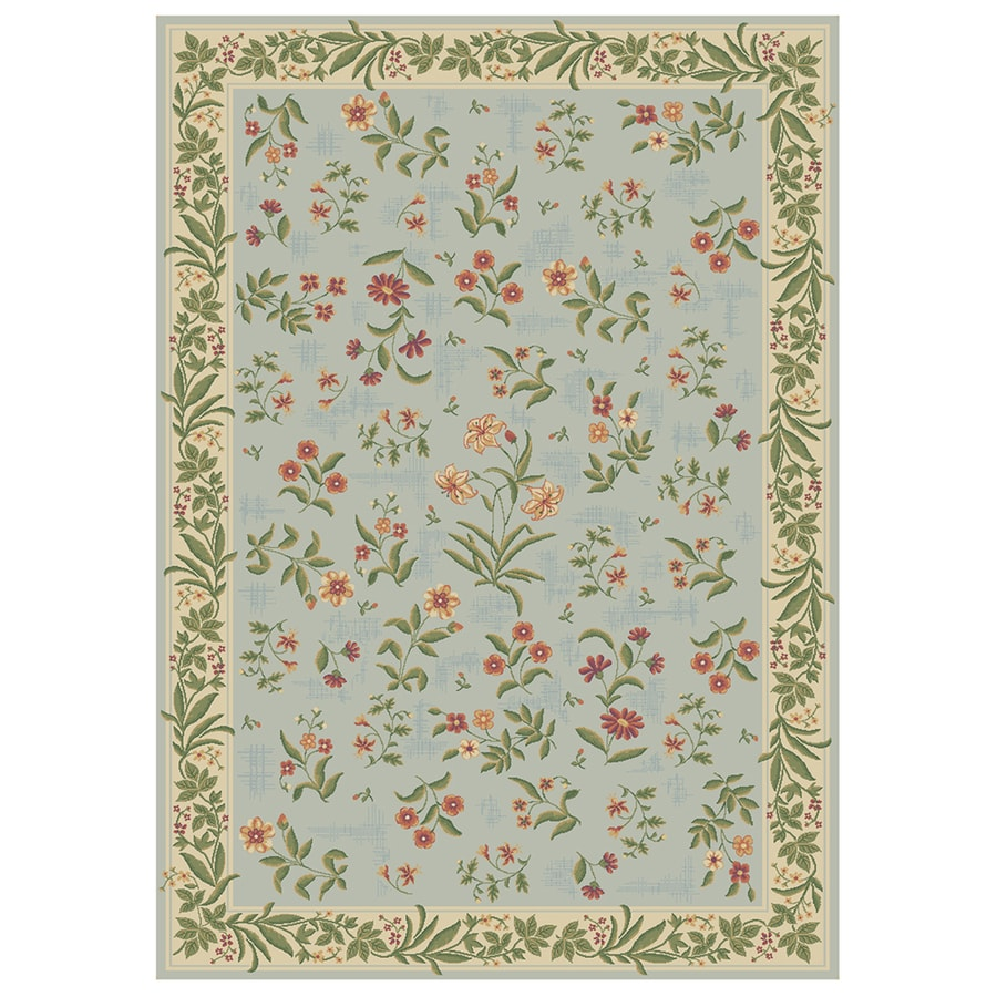 Mohawk Home Summer Flowers Blue Rectangular Indoor Tufted Area Rug (Common: 8 x 11; Actual: 7.75-ft W x 10.91-ft L)