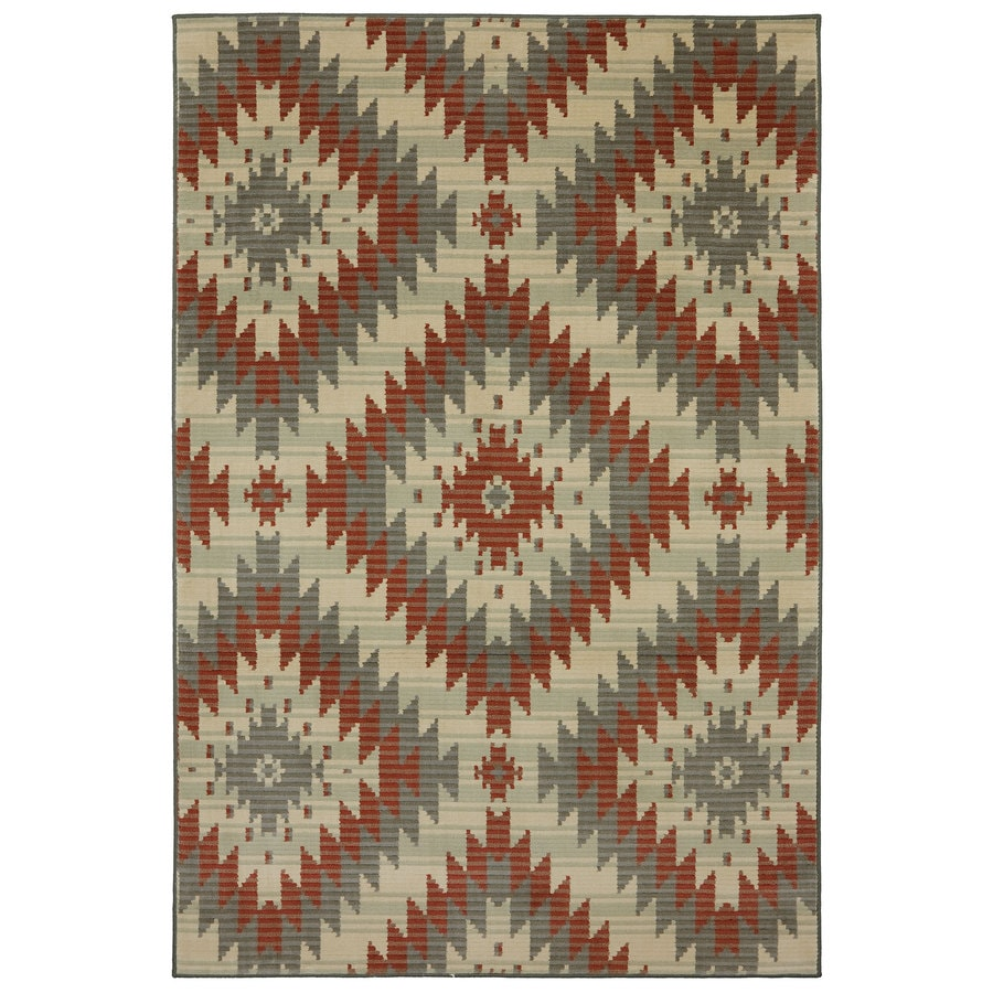 Mohawk Home Bardem-Beechnut Red Rectangular Indoor Machine-Made Inspirational Area Rug (Common: 8 x 11; Actual: 8-ft W x 11-ft L x 0.5-ft dia)