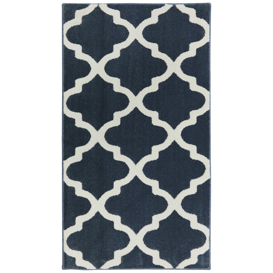 allen + roth Elysian Trellis Dark Slate Rectangular Indoor Woven Throw Rug (Common: 2 x 4; Actual: 2.0833-ft W x 3.6666-ft L)