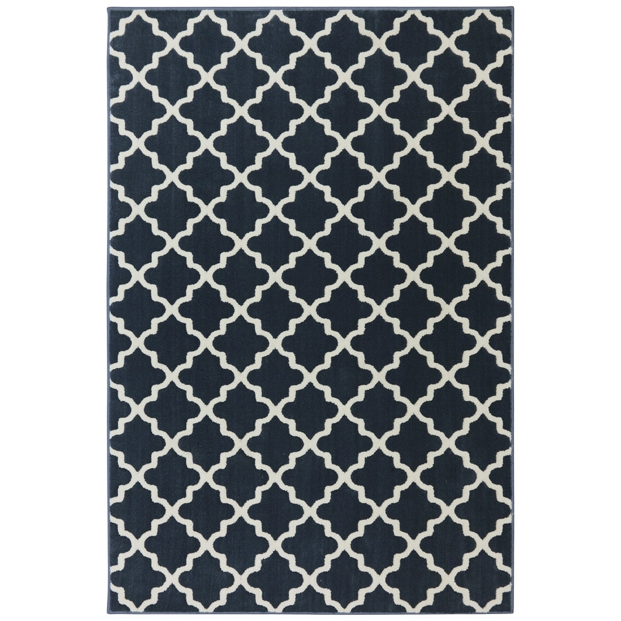 allen + roth Elysian Trellis Dark Slate Rectangular Indoor Woven Area Rug (Common: 5 x 8; Actual: 5.25-ft W x 7.8333-ft L x 0.5-ft Dia)