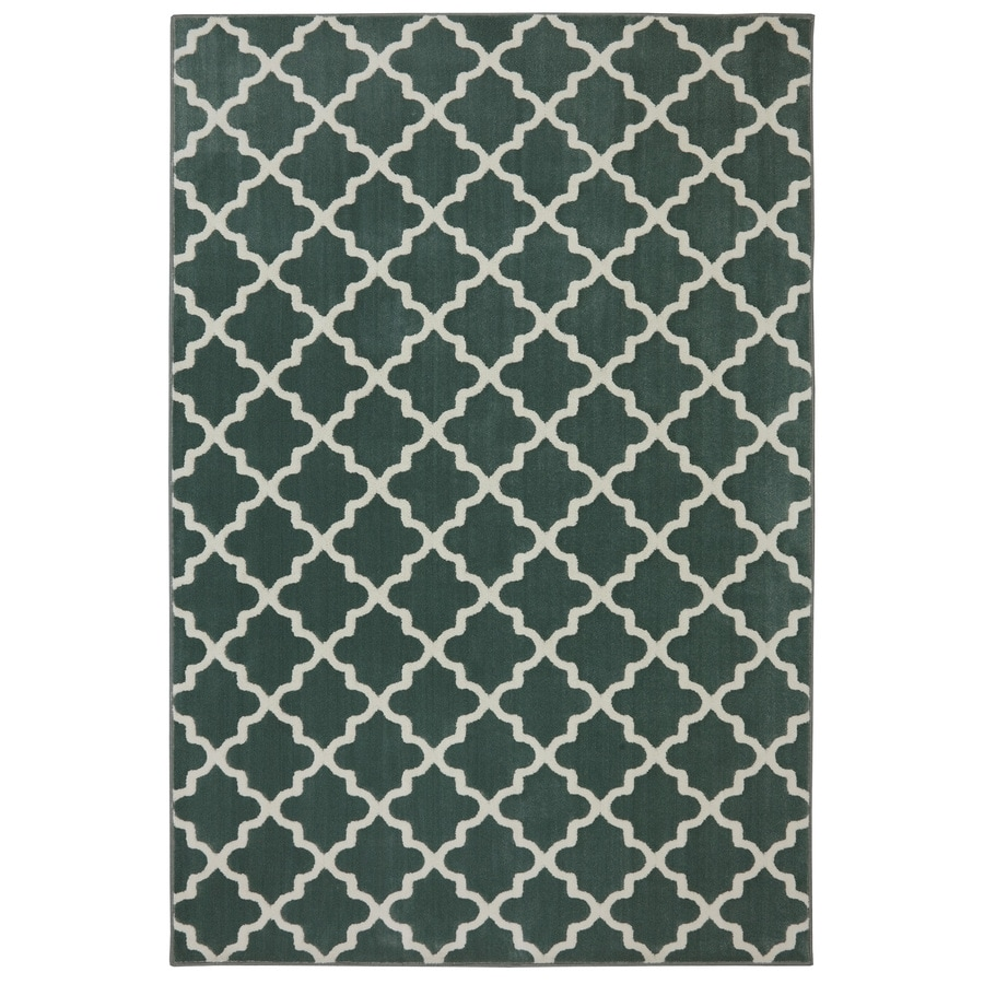 allen + roth Elysian Trellis Green Milieu Rectangular Indoor Woven Area Rug (Common: 5 x 8; Actual: 5.25-ft W x 7.8333-ft L x 0.5-ft Dia)