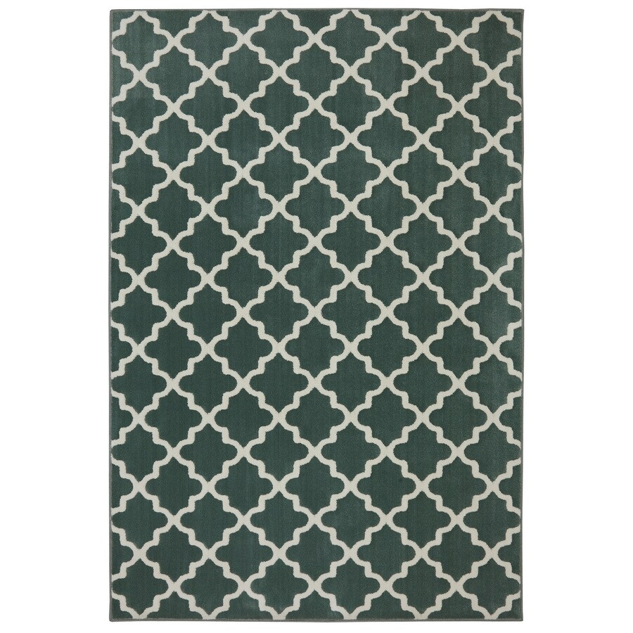allen + roth Elysian Trellis Green Milieu Rectangular Indoor Woven Area Rug (Common: 8 x 10; Actual: 8-ft W x 10-ft L x 0.5-ft Dia)