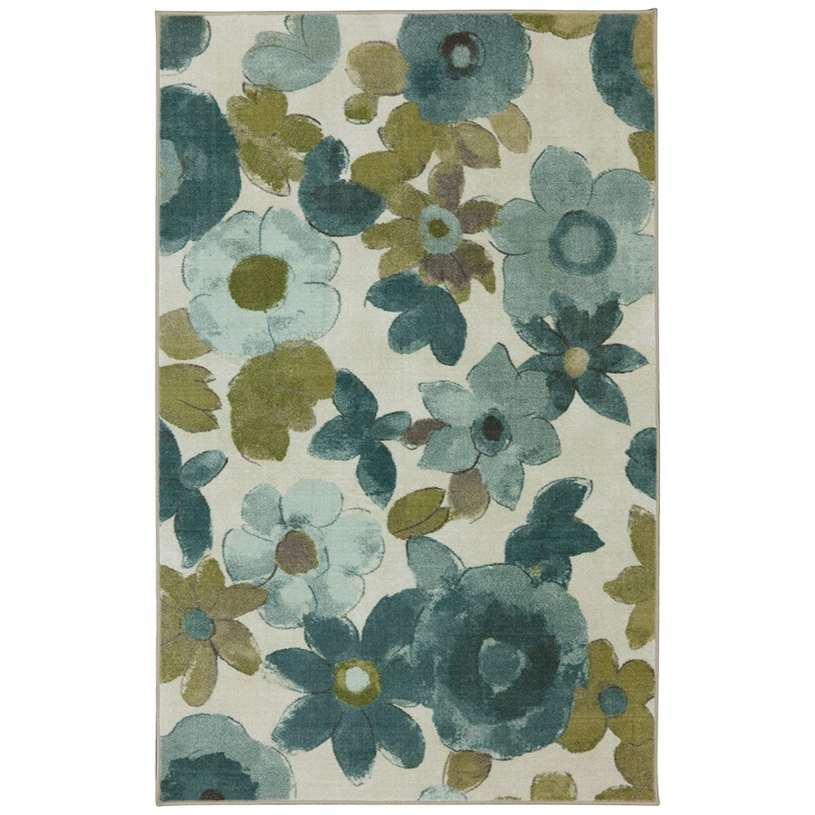 mohawk home wildflower aqua rectangular indoor tufted area rug common 5 x 8 - Mohawk Area Rugs