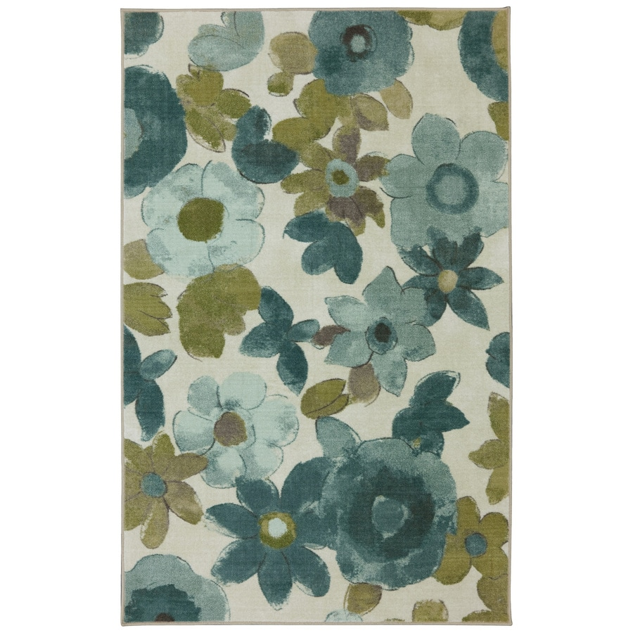 Mohawk Home Wildflower Aqua Rectangular Indoor Tufted Area Rug (Common: 10 x 14; Actual: 10-ft W x 14-ft L x 0.5-ft Dia)
