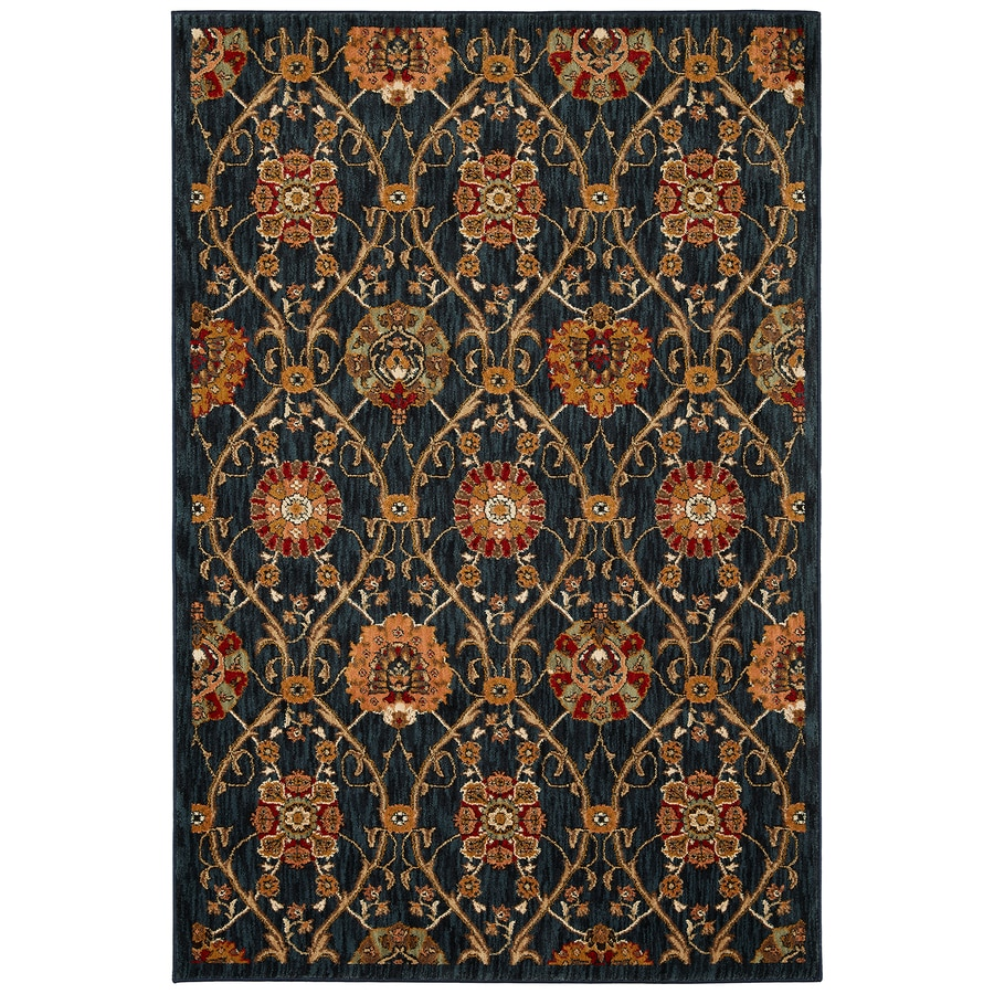 Mohawk Home Barre Navy Black Rectangular Indoor Machine-Made Inspirational Area Rug (Common: 8x11; Actual: 8-ft W x 11-ft L x 0.5-ft dia)