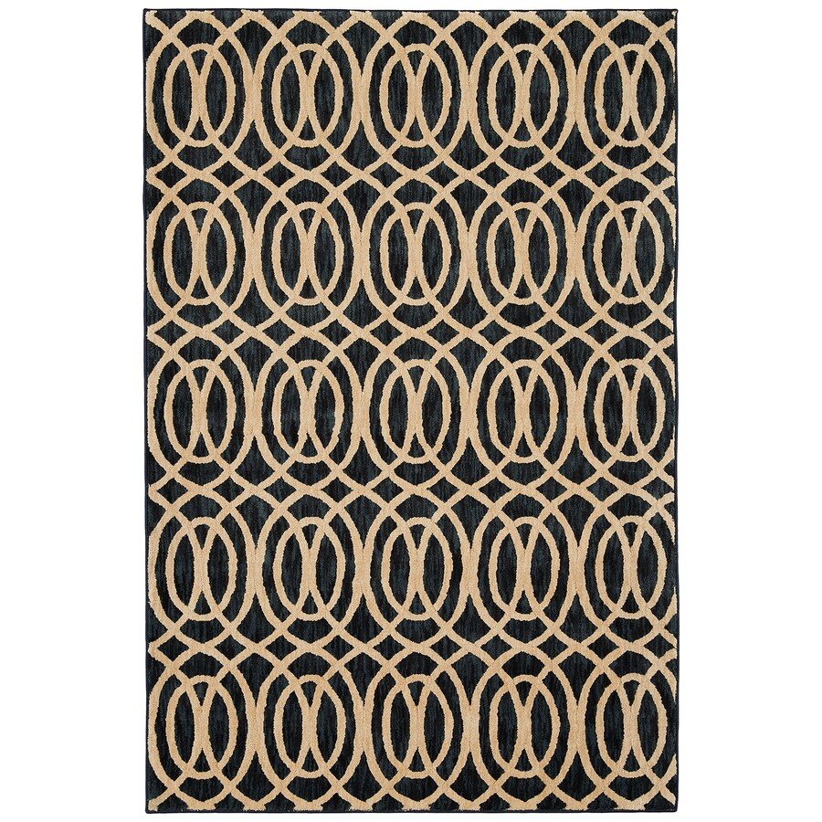 Mohawk Home Davenport Navy Rectangular Indoor Machine-Made Inspirational Area Rug (Common: 5 x 8; Actual: 8-ft W x 11-ft L x 0.5-ft dia)