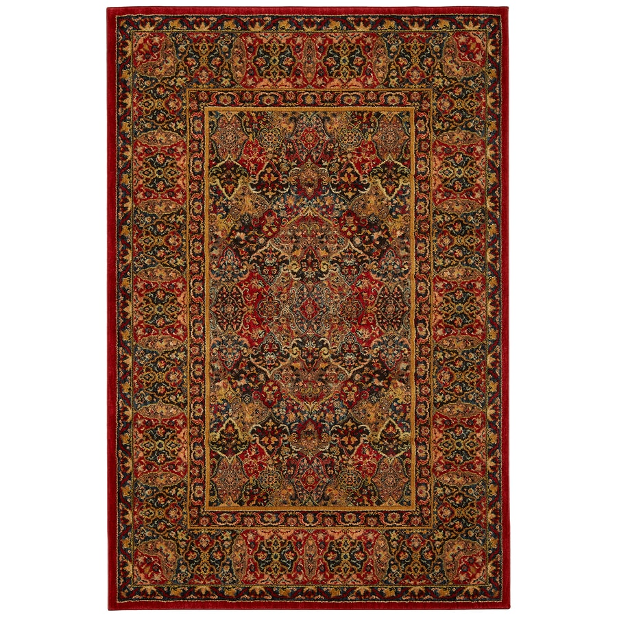 Mohawk Home Barnard Black Red Rectangular Indoor Woven Area Rug (Common: 8 x 11; Actual: 96-in W x 132-in L x 0.5-ft Dia)