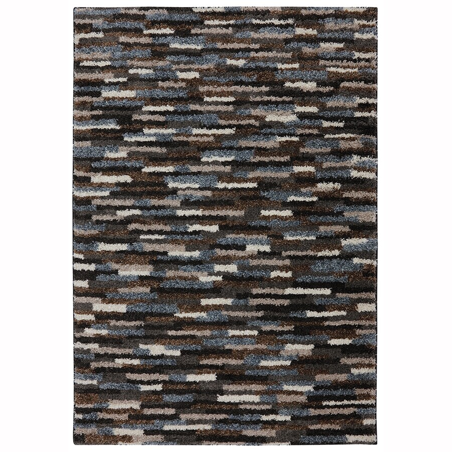 Mohawk Home Mesa Black Blue Rectangular Indoor Woven Area Rug (Common: 5 x 8; Actual: 5-ft W x 8-ft L x 0.5-ft Dia)