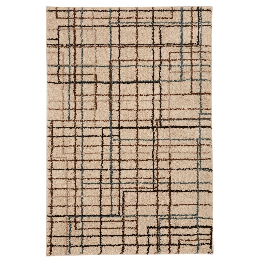 Mohawk Home Lines Beige Rectangular Indoor Woven Area Rug (Common: 5 x 7; Actual: 60-in W x 84-in L x 0.5-ft Dia)