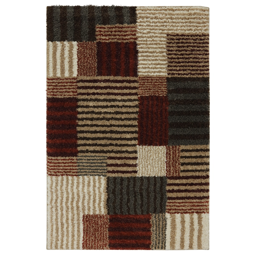 Mohawk Home Striped Boxes Beige Rectangular Indoor Woven Area Rug (Common: 5 x 7; Actual: 60-in W x 84-in L x 0.5-ft Dia)
