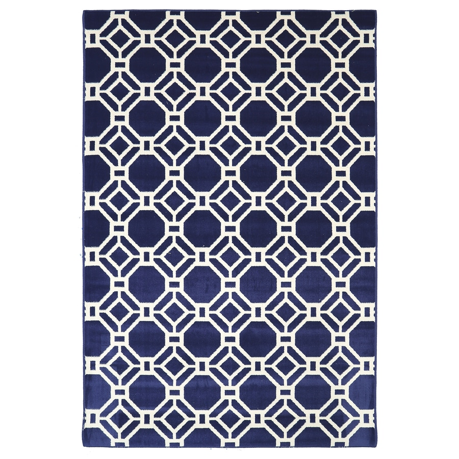 Mohawk Home Kew Gardens Blue Glory Blue Rectangular Indoor Woven Area Rug (Common: 5 x 8; Actual: 5.25-ft W x 7.8333-ft L x 0.5-ft Dia)