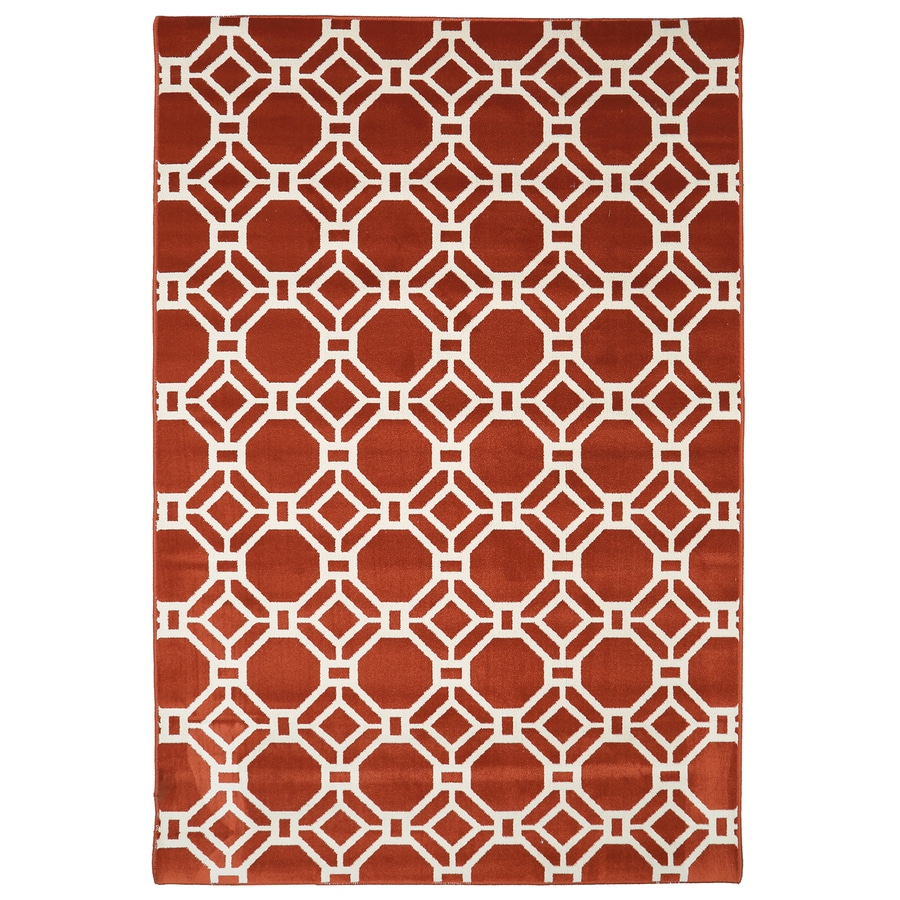 Mohawk Home Kew Garden Picante Red Rectangular Indoor Machine-Made Inspirational Area Rug (Common: 8 x 10; Actual: 8-ft W x 10-ft L x 0.5-ft dia)