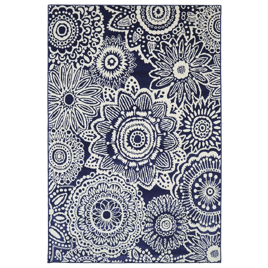 Mohawk Home Saranda Blue Glory Blue Rectangular Indoor Woven Area Rug (Common: 5 x 8; Actual: 5.25-ft W x 7.8333-ft L x 0.5-ft Dia)