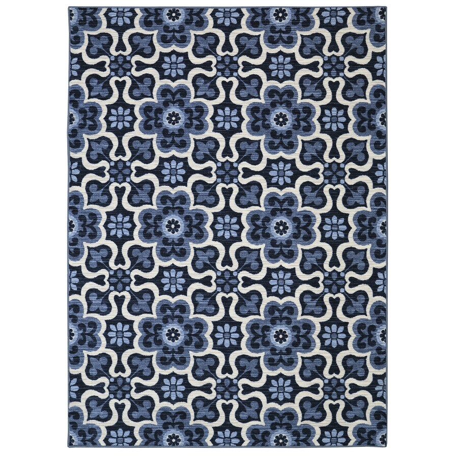Mohawk Home Majorelle Gardens Blue Blue Rectangular Indoor Tufted Area Rug (Common: 8 x 10; Actual: 96-in W x 120-in L x 0.5-ft Dia)
