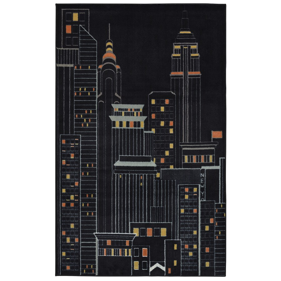 Mohawk Home New York City Black Black Rectangular Indoor Tufted Area Rug (Common: 5 x 8; Actual: 5-ft W x 8-ft L x 0.5-ft Dia)