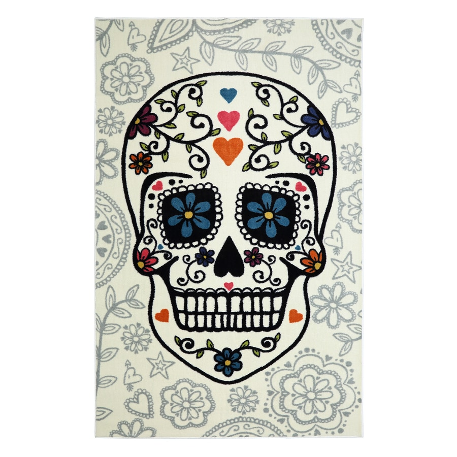 Mohawk Home Sugar Skull Multi Rectangular Indoor Machine-Made Inspirational Area Rug (Common: 5 x 8; Actual: 5-ft W x 8-ft L x 0.5-ft dia)