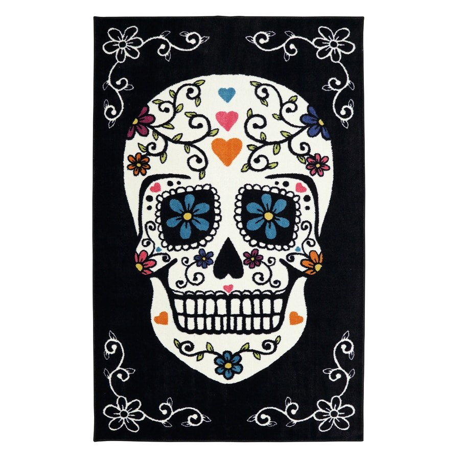 Mohawk Home Sugar Skull Rainbow Rectangular Indoor Machine-Made Inspirational Area Rug (Common: 5 x 8; Actual: 5-ft W x 8-ft L x 0.5-ft dia)