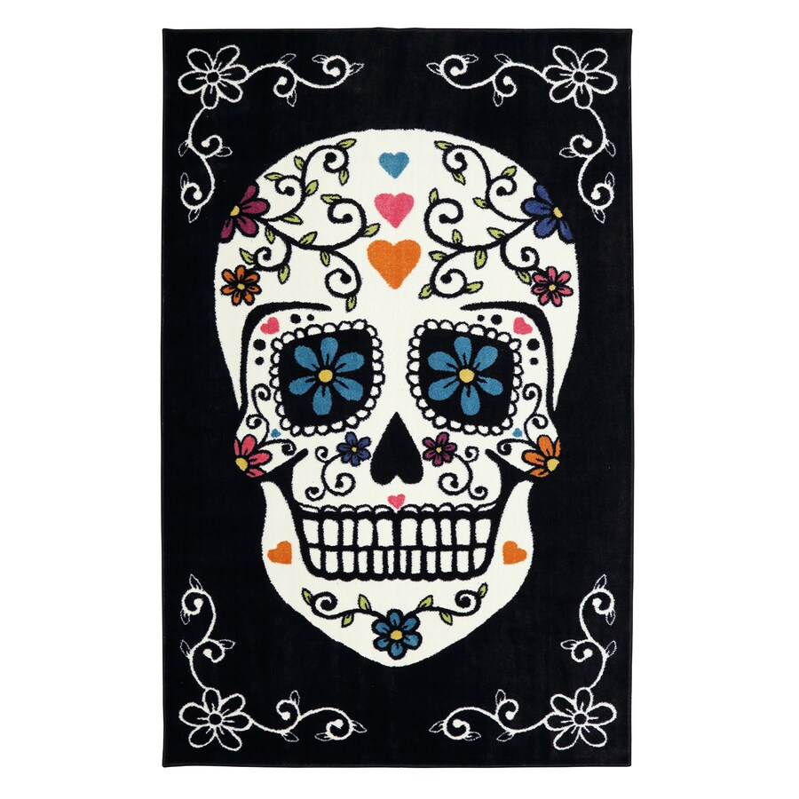 Mohawk Home Sugar Skull Rainbow Multi Rectangular Indoor Tufted Area Rug (Common: 5 x 8; Actual: 5-ft W x 8-ft L x 0.5-ft Dia)