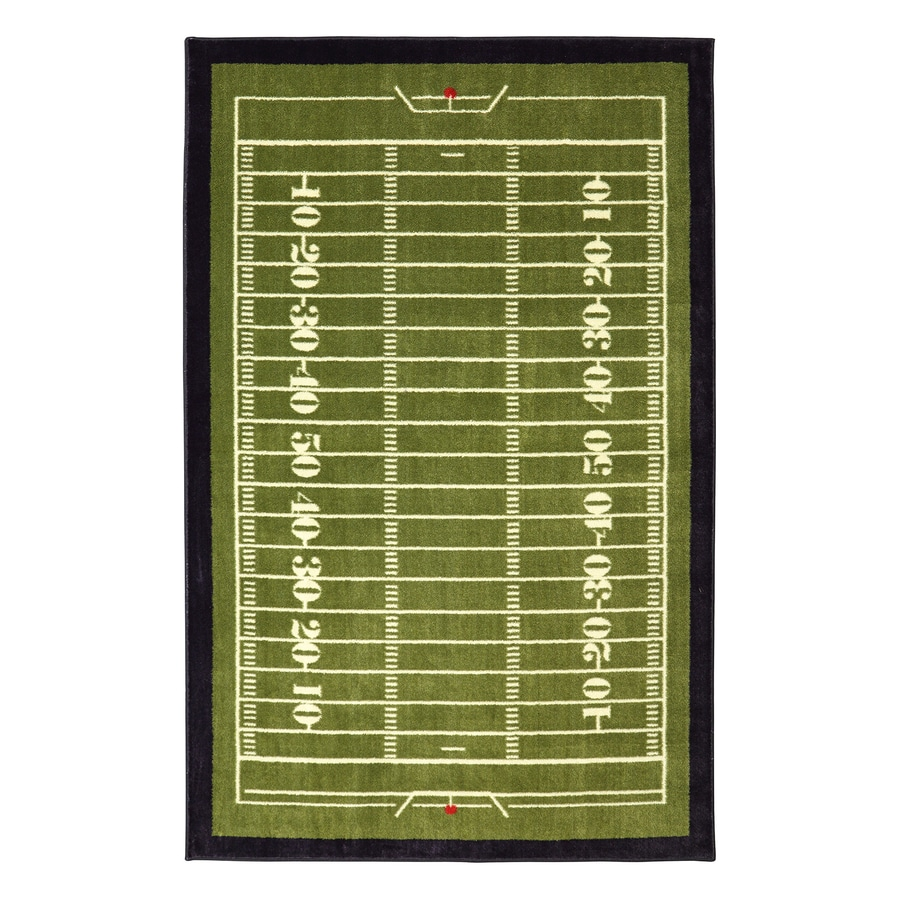 Mohawk Home Field Green Green Rectangular Indoor Tufted Area Rug (Common: 5 x 8; Actual: 60-in W x 96-in L x 0.5-ft Dia)