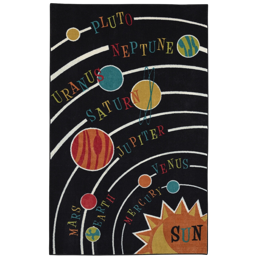 Mohawk Home Solar System Black Multicolor Rectangular Indoor Tufted Area Rug (Common: 5 x 8; Actual: 60-in W x 96-in L x 0.5-ft Dia)