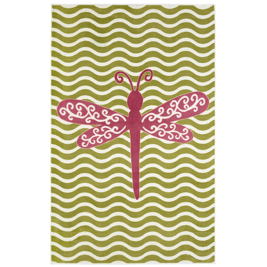 Mohawk Home Dreamy Dragonfly Hot Pink Lime Rectangular Indoor Tufted Area Rug (Common: 5 x 8; Actual: 60-in W x 96-in L x 0.5-ft Dia)