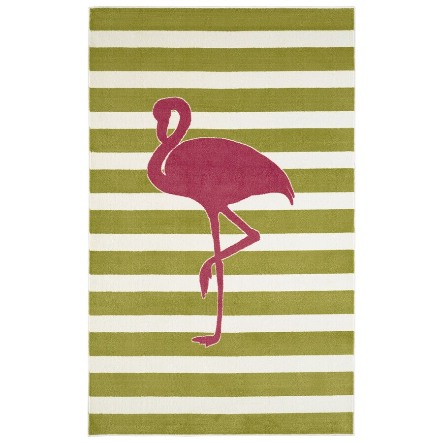 Mohawk Home Fancy Flamingo Hot Pink Lime Rectangular Indoor Tufted Area Rug (Common: 5 x 8; Actual: 60-in W x 96-in L x 0.5-ft Dia)