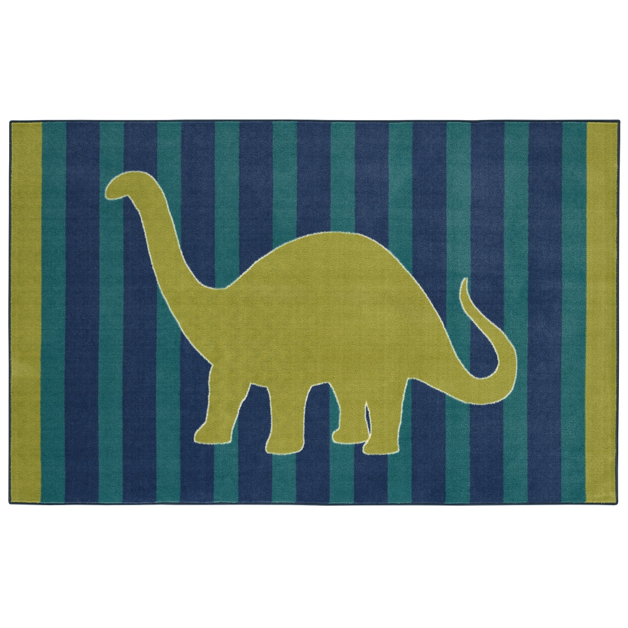 Mohawk Home Friendly Dinosaur Blue Lime Rectangular Indoor Tufted Area Rug (Common: 5 x 8; Actual: 60-in W x 96-in L x 0.5-ft Dia)