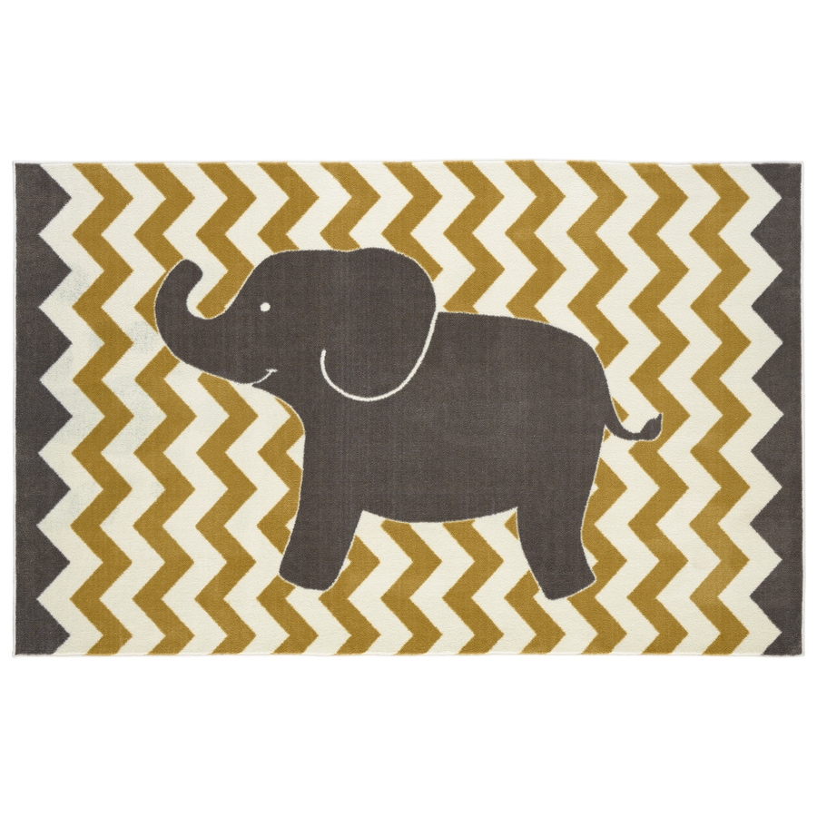 Mohawk Home Lucky Elephant Yellow Rectangular Indoor Machine-Made Inspirational Area Rug (Common: 5 x 8; Actual: 5-ft W x 8-ft L x 0.5-ft dia)