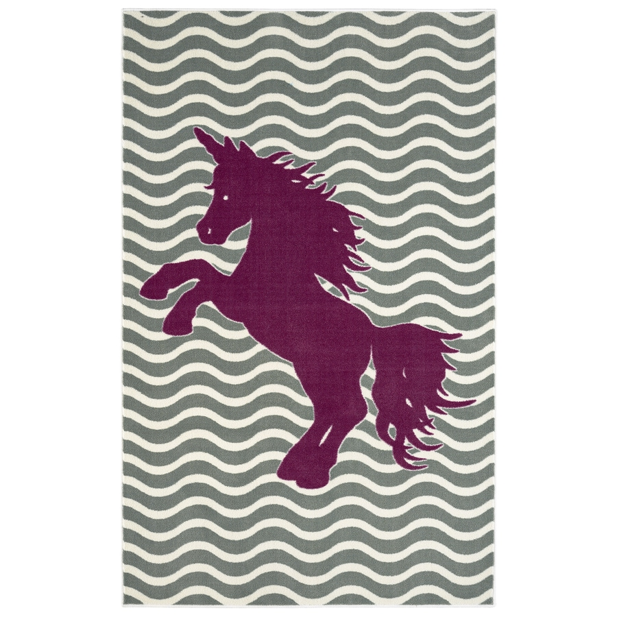 Mohawk Home Majestic Unicorn Royal Gray Rectangular Indoor Tufted Area Rug (Common: 5 x 8; Actual: 60-in W x 96-in L x 0.5-ft Dia)
