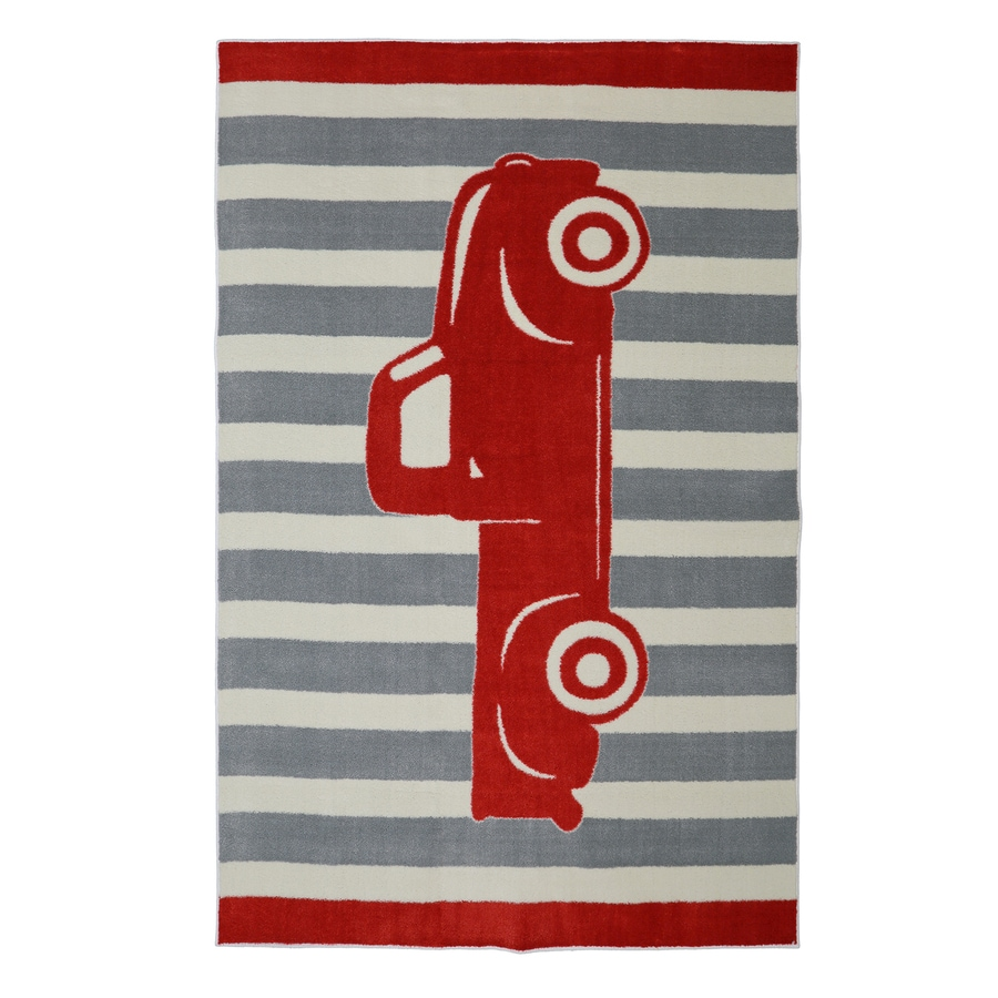 Mohawk Home Vintage Truck Crimson Gray Rectangular Indoor Machine-Made Inspirational Area Rug (Common: 5 x 8; Actual: 5-ft W x 8-ft L x 0.5-ft dia)