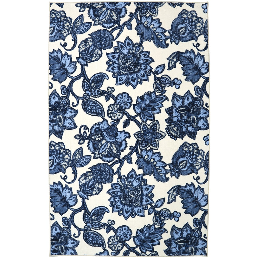 Mohawk Home Arranged Melody Blue Blue Rectangular Indoor Tufted Area Rug (Common: 5 x 8; Actual: 60-in W x 96-in L x 0.5-ft Dia)