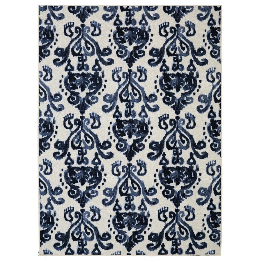 Mohawk Home Bali Denim Blue Rectangular Indoor Machine-Made Inspirational Area Rug (Common: 5 x 8; Actual: 5-ft W x 8-ft L x 0.5-ft dia)