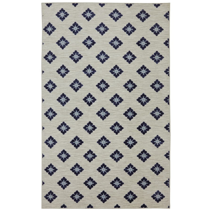 Mohawk Home Button Fleur Navy Cream Rectangular Indoor Machine-Made Inspirational Area Rug (Common: 5 x 8; Actual: 5-ft W x 8-ft L x 0.5-ft dia)