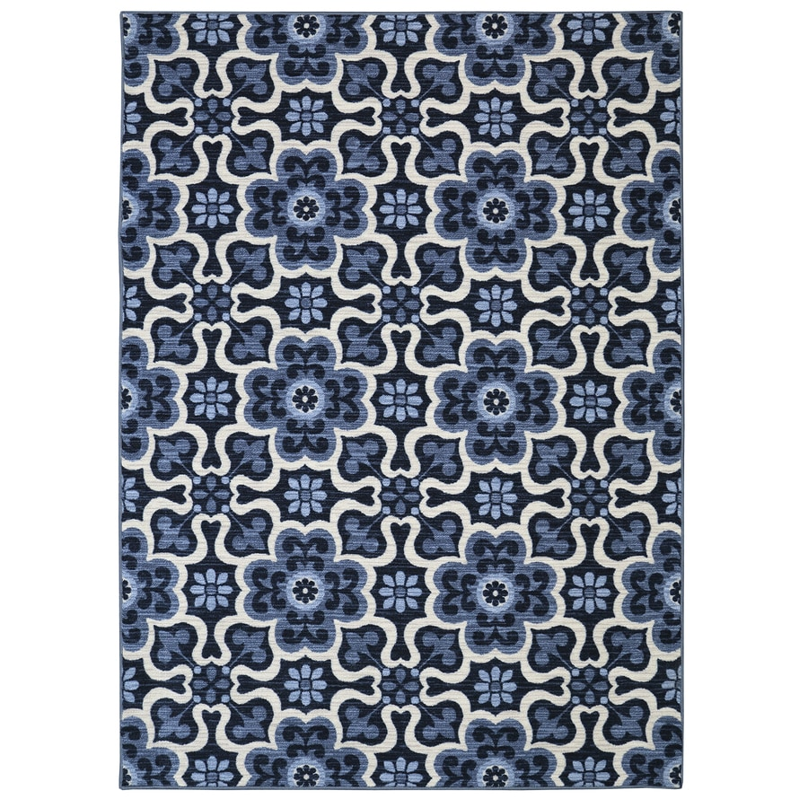 Mohawk Home Majorelle Gardens Blue Blue Rectangular Indoor Tufted Area Rug (Common: 5 x 8; Actual: 5-ft W x 8-ft L x 0.5-ft Dia)