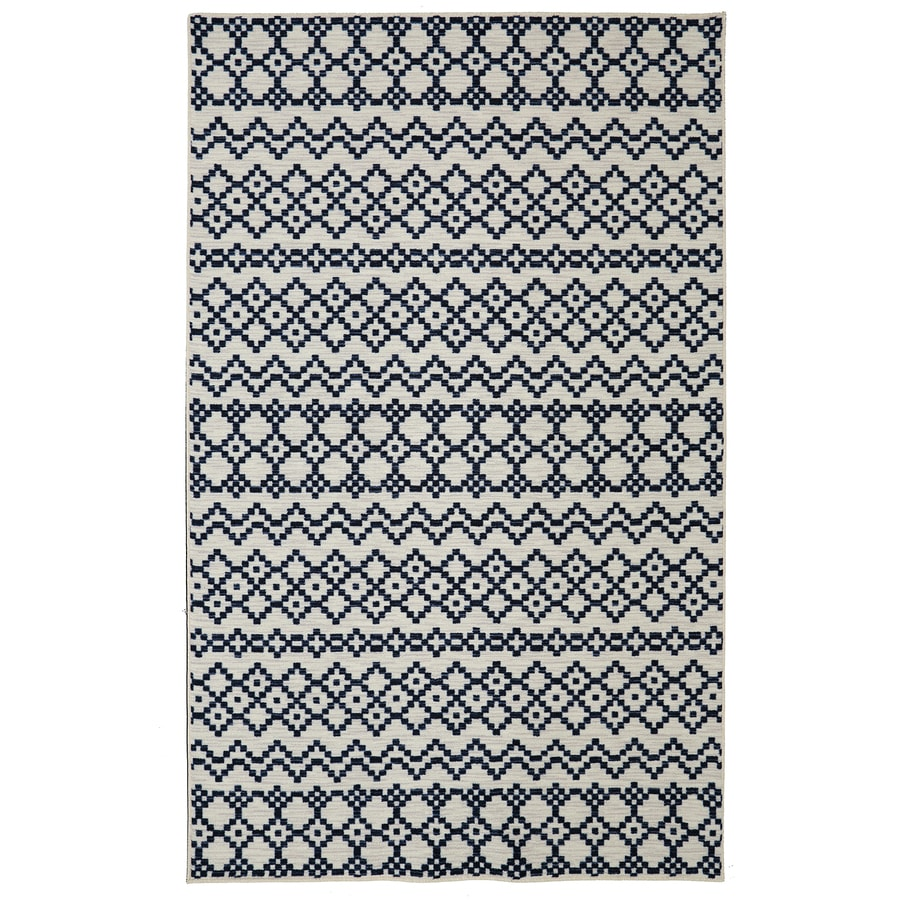 Mohawk Home Aztec Bands Denim Blue Rectangular Indoor Tufted Area Rug (Common: 5 x 8; Actual: 5-ft W x 8-ft L x 0.5-ft Dia)