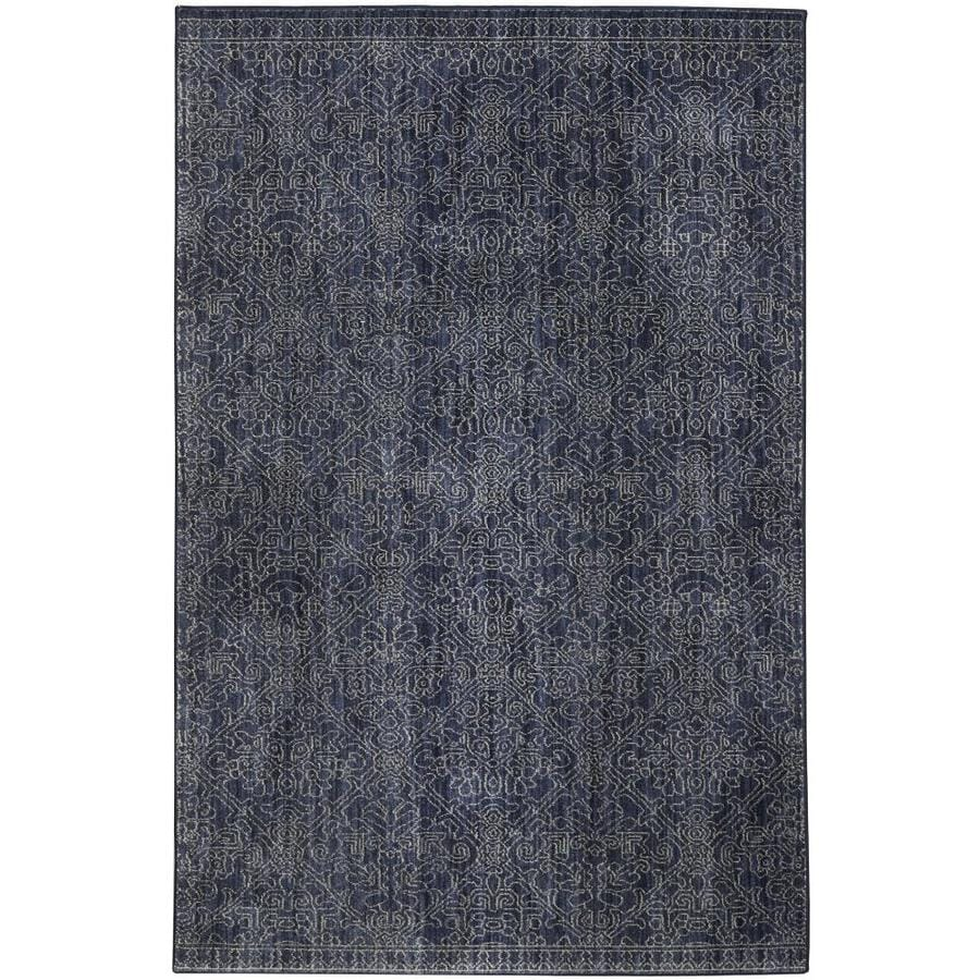 Wonderful Allen + Roth Resbridge Indigo Rectangular Indoor Machine Made Moroccan Area  Rug (Common: