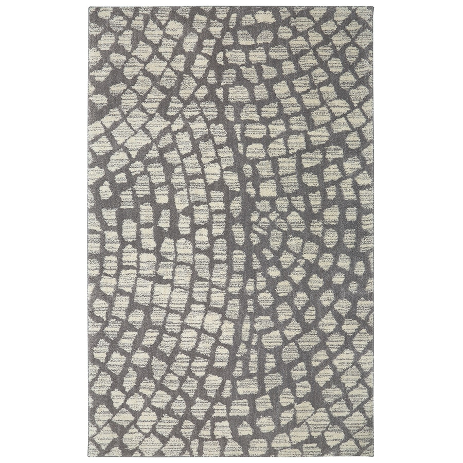 Mohawk Home Berkshire Cohassett Grey Rectangular Indoor Machine-Made Inspirational Area Rug (Common: 8 x 10; Actual: 8-ft W x 10-ft L x 0.5-ft dia)