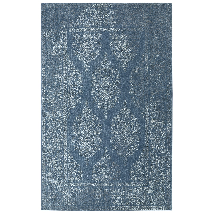 Mohawk Home Berkshire Paxton Blue Rectangular Indoor Machine-Made Inspirational Area Rug (Common: 8 x 10; Actual: 8-ft W x 10-ft L x 0.5-ft dia)