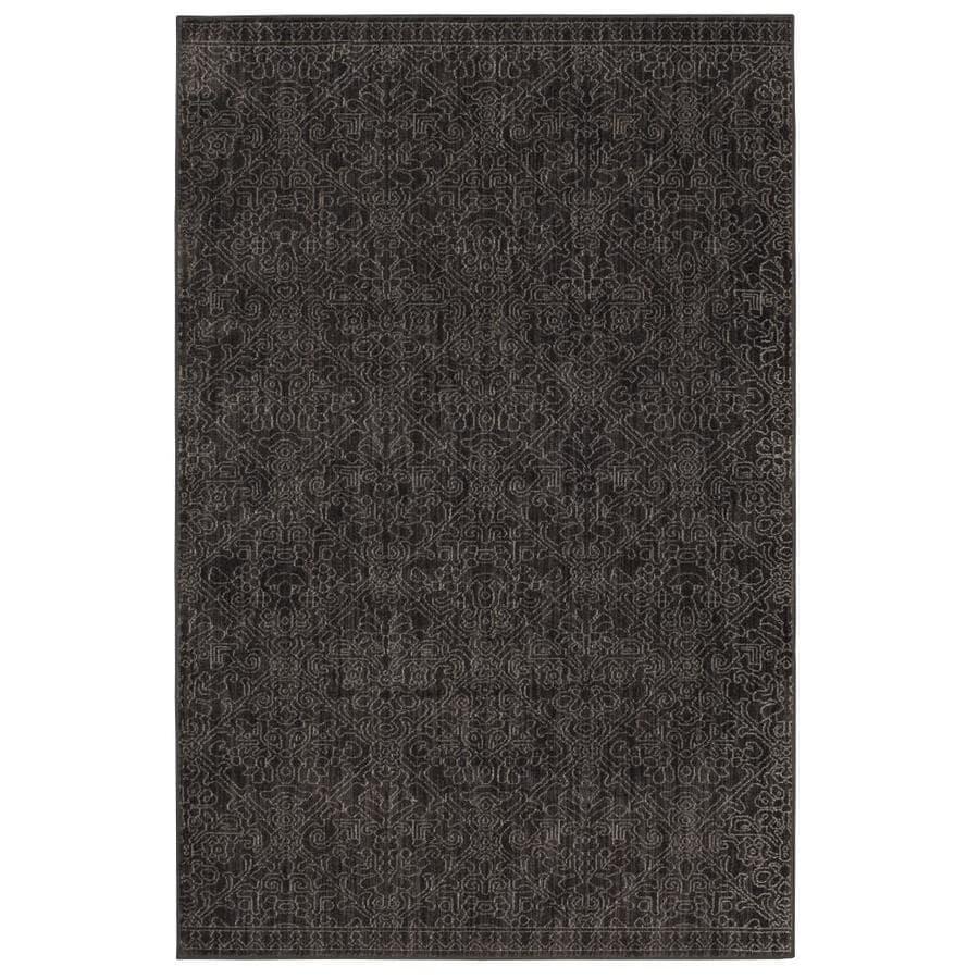 allen + roth Resbridge Black Rectangular Indoor Woven Area Rug (Common: 5 x 8; Actual: 5.3-ft W x 7.83-ft L x 0.5-ft Dia)