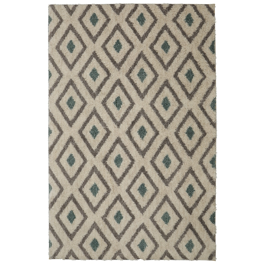 Mohawk Home Tribal Diamond Green Beige Rectangular Indoor Machine-Made Inspirational Area Rug (Common: 5 x 8; Actual: 5-ft W x 8-ft L x 0.5-ft dia)