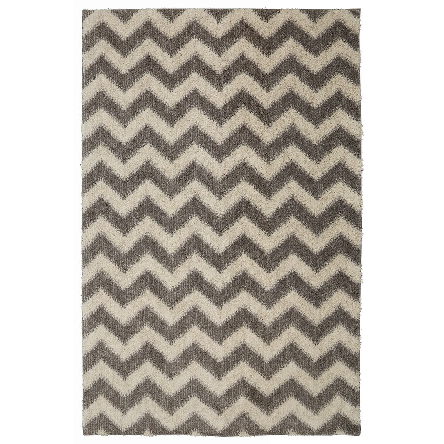 Mohawk Home Stitched Chevron Gray Beige Rectangular Indoor Woven Area Rug (Common: 8 x 10; Actual: 8-ft W x 10-ft L)