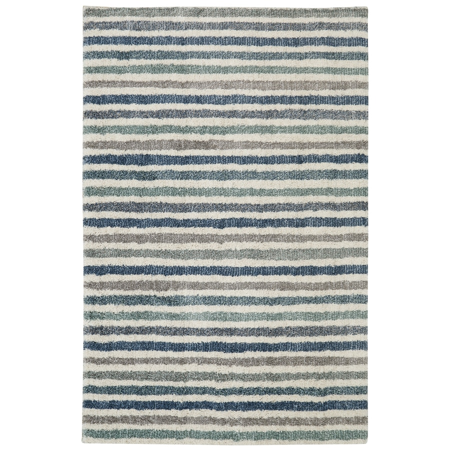 Mohawk Home Boardwalk Stripe Blue Beige Rectangular Indoor Machine-Made Inspirational Area Rug (Common: 8 x 10; Actual: 8-ft W x 10-ft L x 0.5-ft dia)