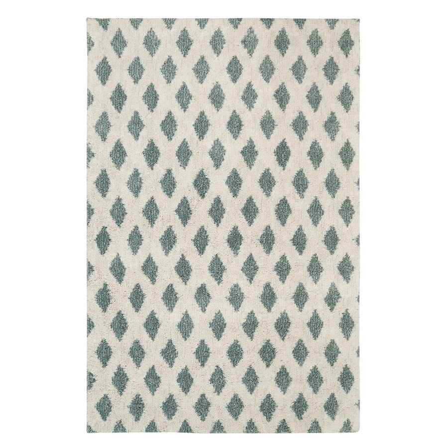 Mohawk Home Adona Aqua Beige Rectangular Indoor Machine-Made Inspirational Area Rug (Common: 5 x 8; Actual: 5-ft W x 8-ft L x 0.5-ft dia)