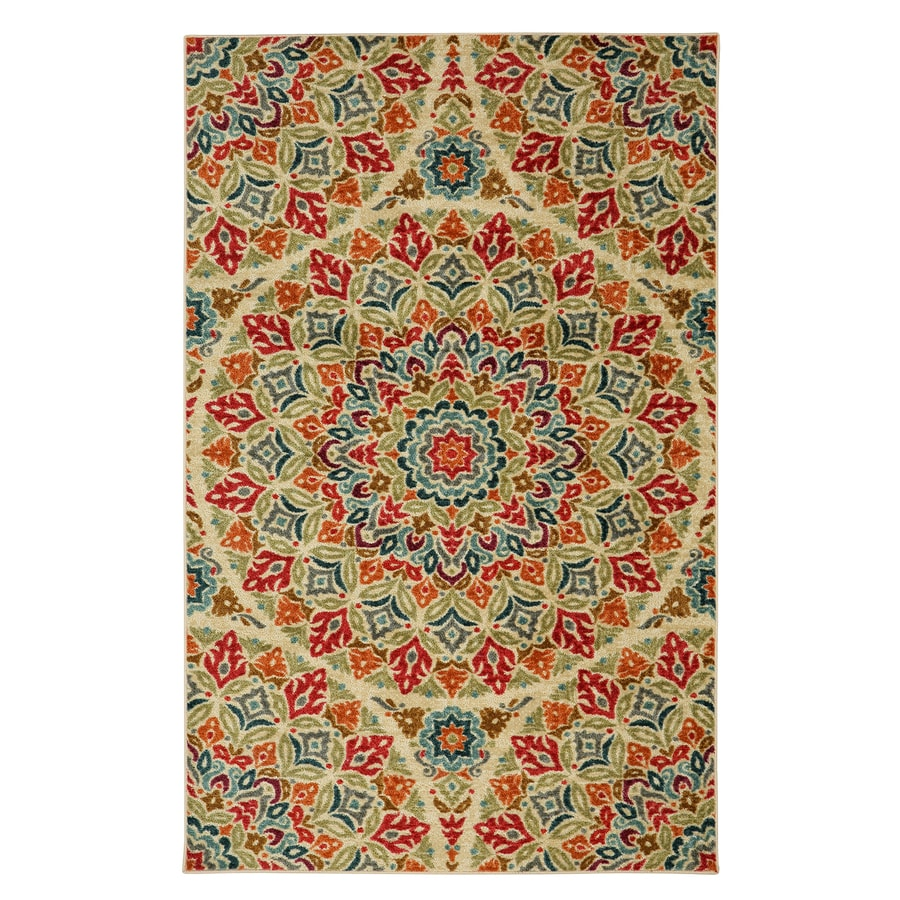 Mohawk Home Jerada Multicolor Geo Floral Pattern Multicolor Rectangular Indoor Machine-Made Area Rug