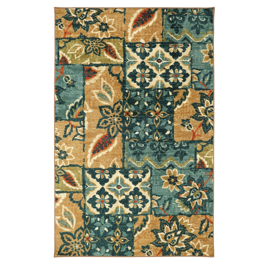 Mohawk Home Gypsy Patchwork Multi Aqua Rectangular Indoor Tufted Area Rug (Common: 5 x 8; Actual: 5-ft W x 8-ft L)