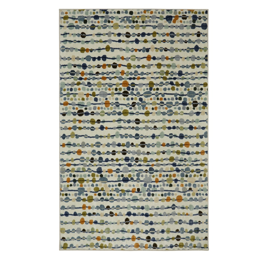 Mohawk Home Delerus Falls Cool Cream Rectangular Indoor Machine-Made Inspirational Area Rug (Common: 5 x 8; Actual: 5-ft W x 8-ft L x 0.5-ft dia)