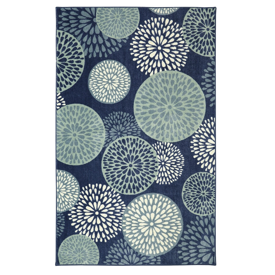 Mohawk Home Foliage Friends Blue Blue Rectangular Indoor Tufted Area Rug (Common: 5 x 8; Actual: 60-in W x 96-in L)