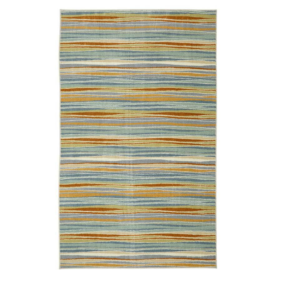 Mohawk Home Confetti Stripes Cream Aqua Rectangular Indoor Tufted Area Rug (Common: 5 x 8; Actual: 5-ft W x 8-ft L)